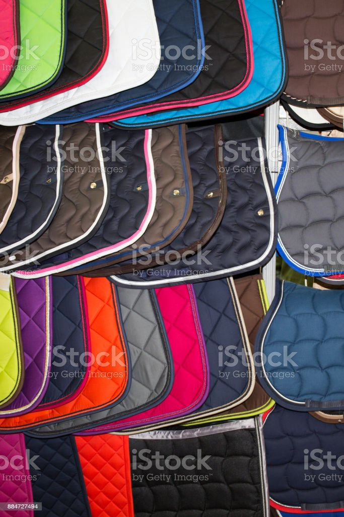 Beautiful Multi-colored carpets in the store at market place stock photo