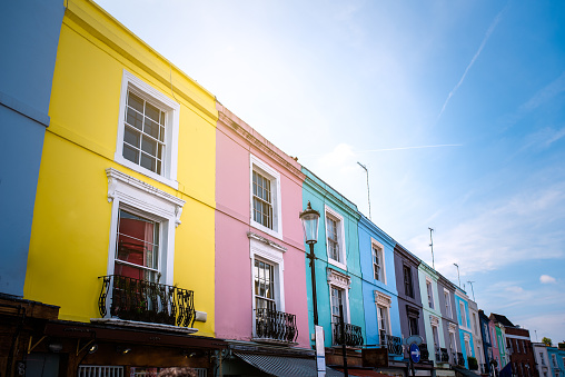 istock Beautiful multicolored houses facades in Notting Hill 1098407792