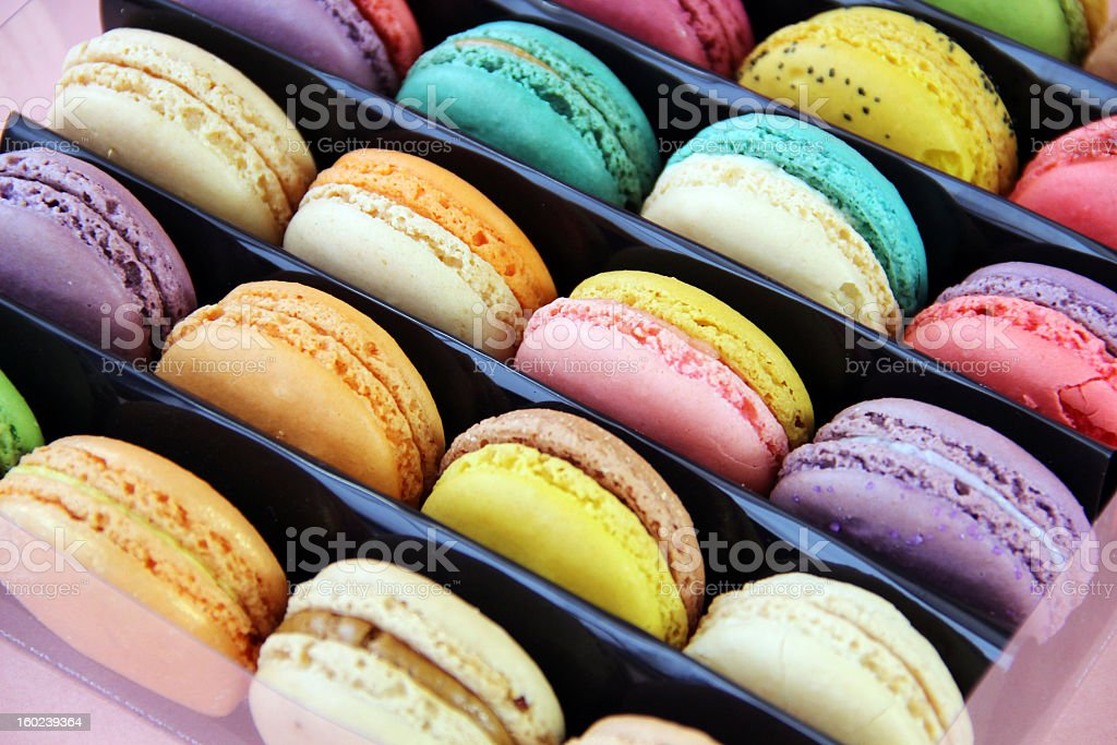 Beautiful Multicolored Macarons in Gift Box stock photo