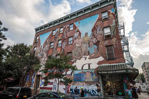 Beautiful mural painting in Spanish Harlem, New York City, USA stock photo