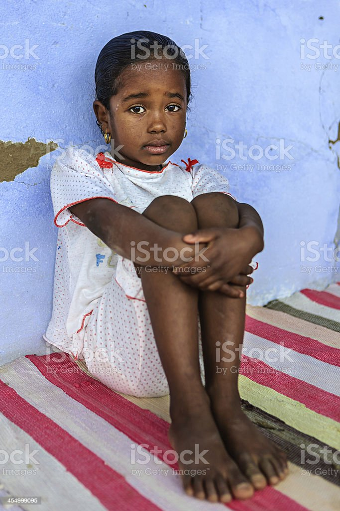 Beautiful Muslim girl in Southern Egypt stock photo
