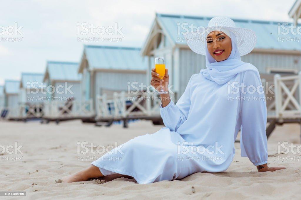 Beautiful Muslim Woman Wearing Hijab On The Beach Stock Photo Download Image Now Istock