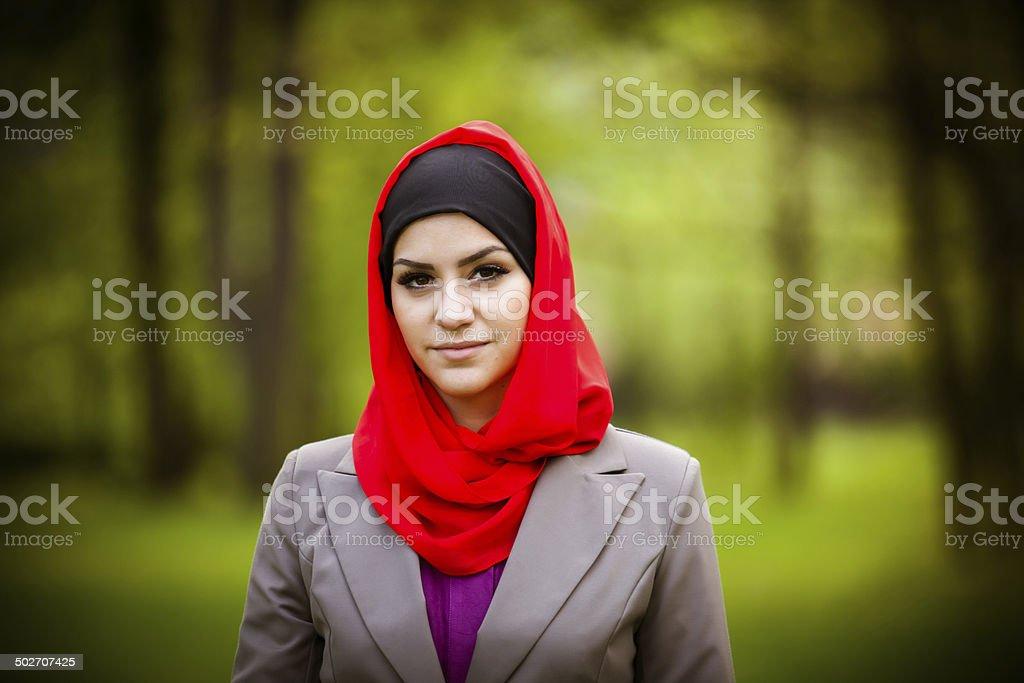 beautiful muslim woman wearing hijab outdoor portrait royalty-free stock photo