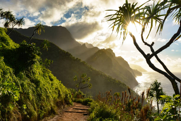 beautiful na pali coast sunset from the kalalau trail on kauai's north shore - pacific islands stock pictures, royalty-free photos & images