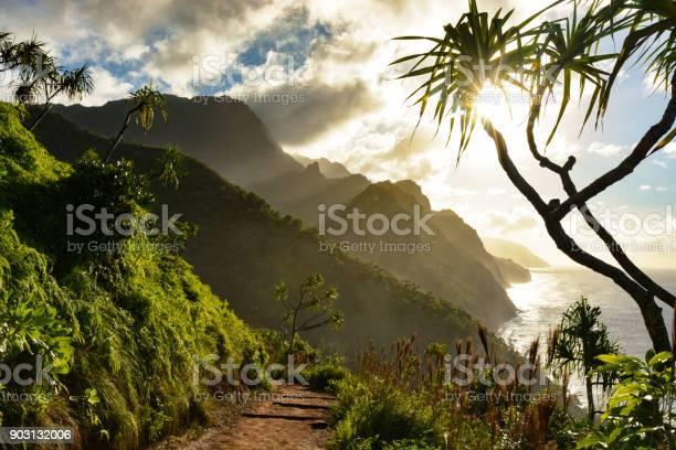Photo of Beautiful Na Pali coast sunset from the Kalalau Trail on Kauai's north shore
