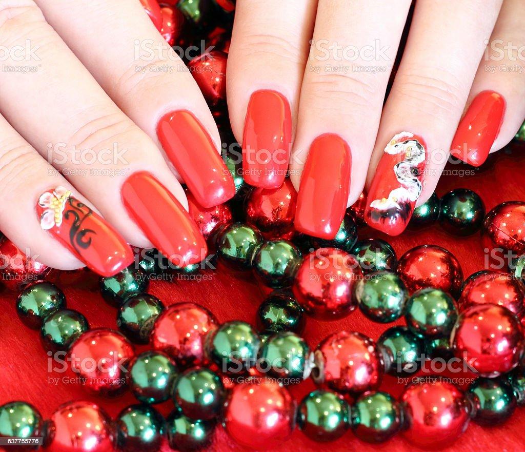 Beautiful nails with art stock photo