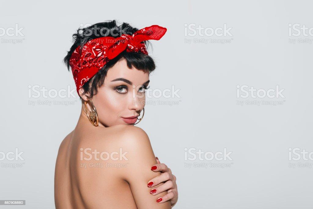 beautiful naked girl in earrings stock photo