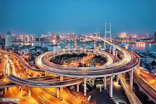 istock beautiful nanpu bridge at dusk ,crosses huangpu river ,shanghai 623208766