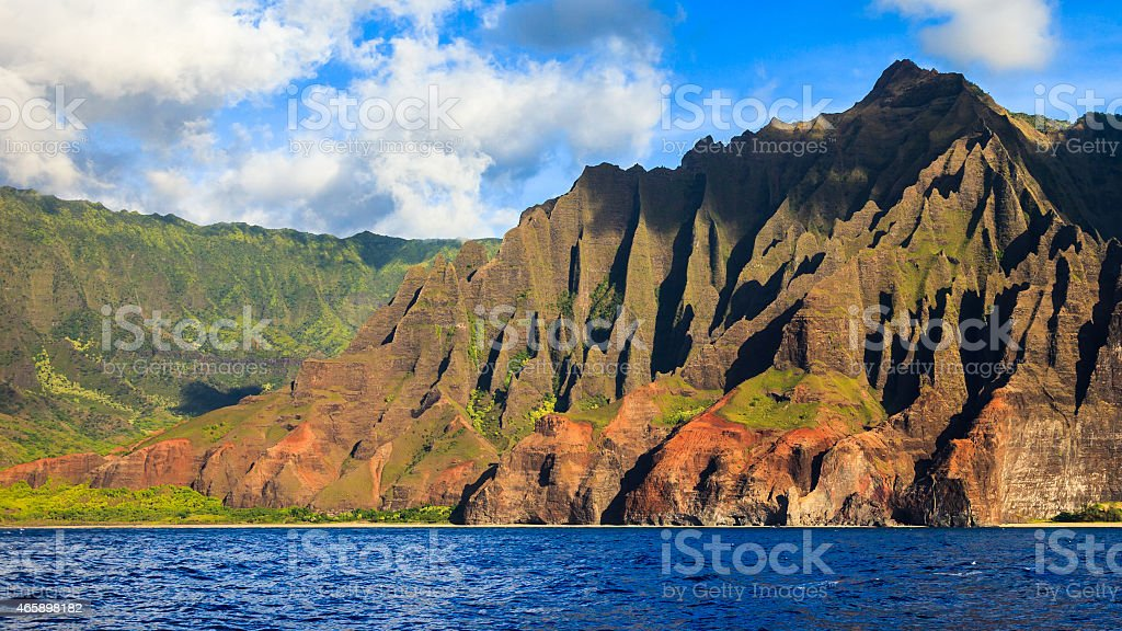 Beautiful Napali Coast Mountains stock photo