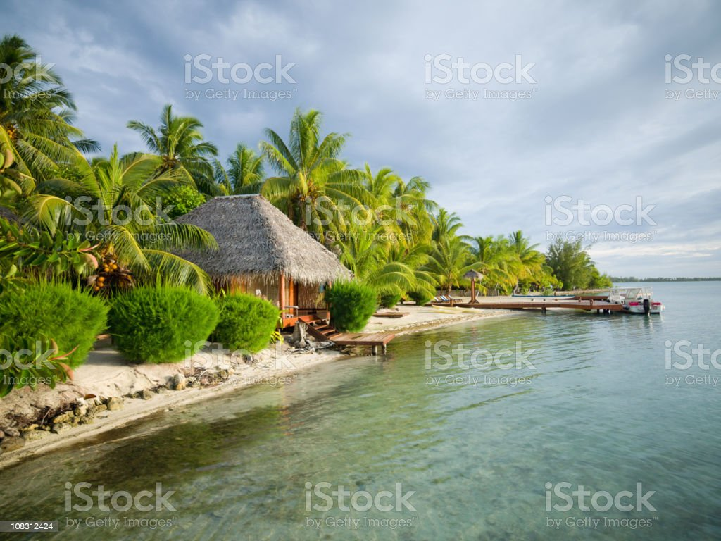 Beautiful Natural Atoll Beach Paradise stock photo