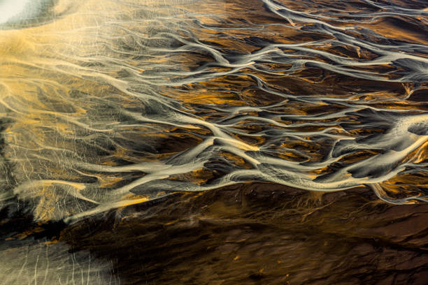 Beautiful natural branching patterns of glacial river flow in Iceland, taken from a helicopter stock photo