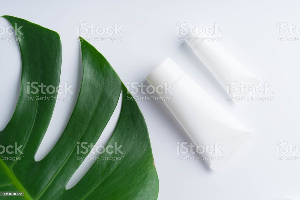 Beautiful natural cosmetics and leaves on light background royalty-free stock photo