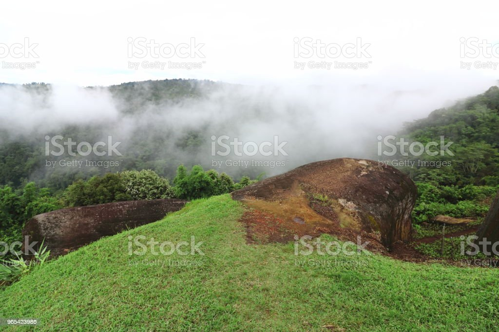 Beautiful natural scenery of mountain with fog landscape. royalty-free stock photo