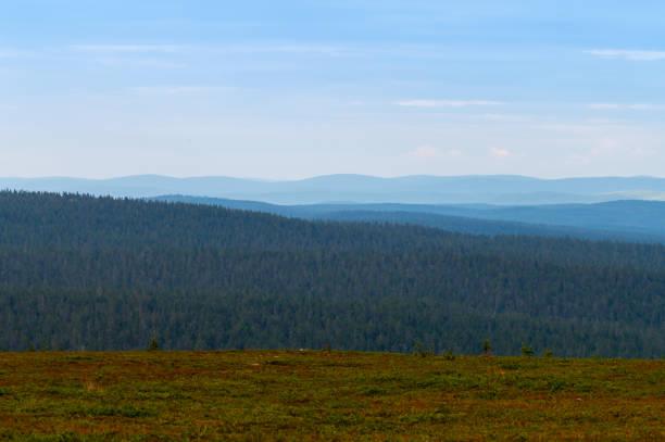 A beautiful natural view of the wilderness at the peak of Kaunispää fell in Saariselkä, Lapland. stock photo