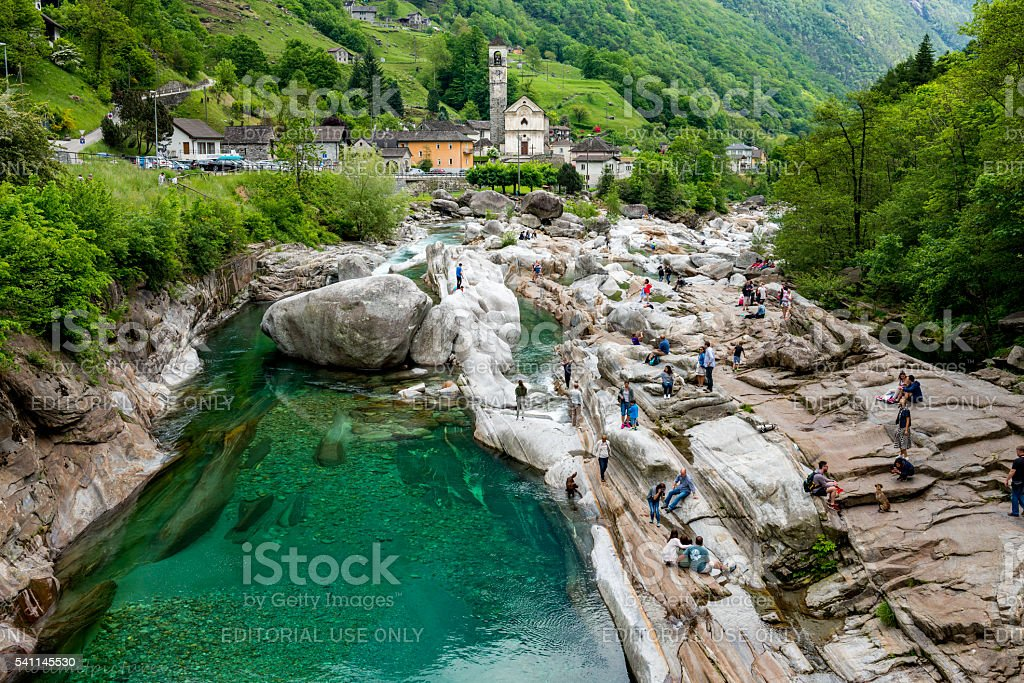 beautiful nature and church in valley verzasca in Switzerland stock photo