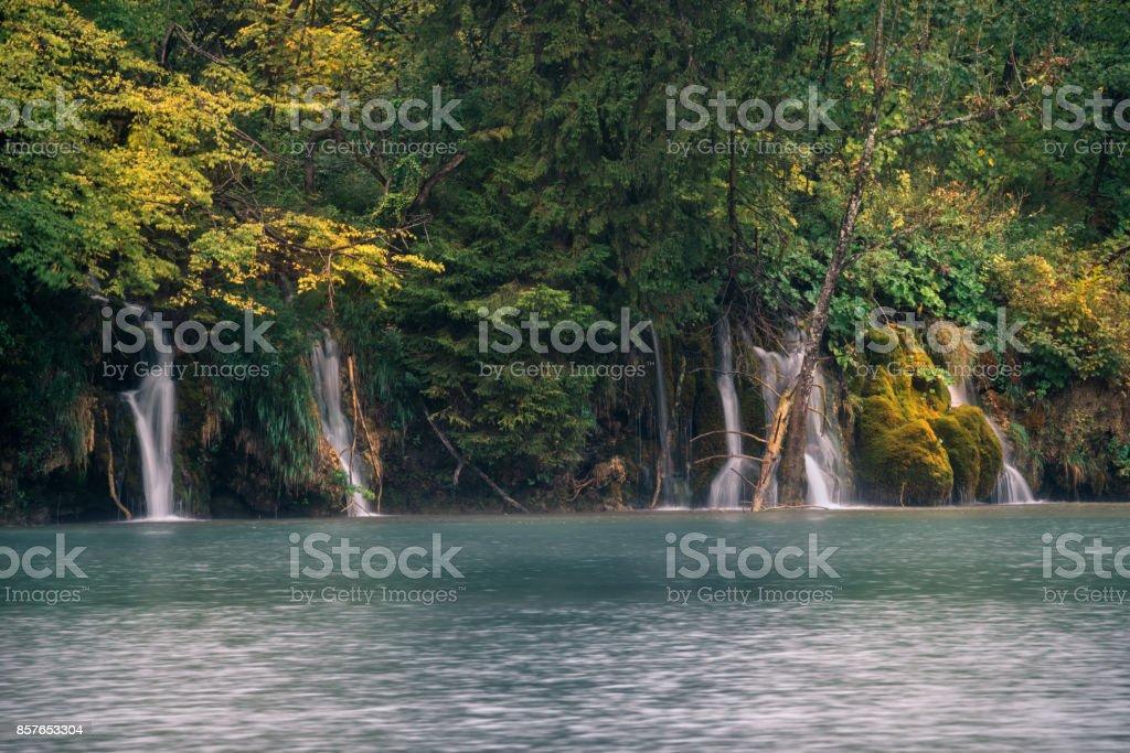 Beautiful nature autumn and waterfall in Plitvice National Park, Croatia stock photo