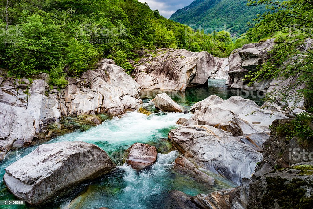 beautiful nature in valley verzasca in Switzerland stock photo