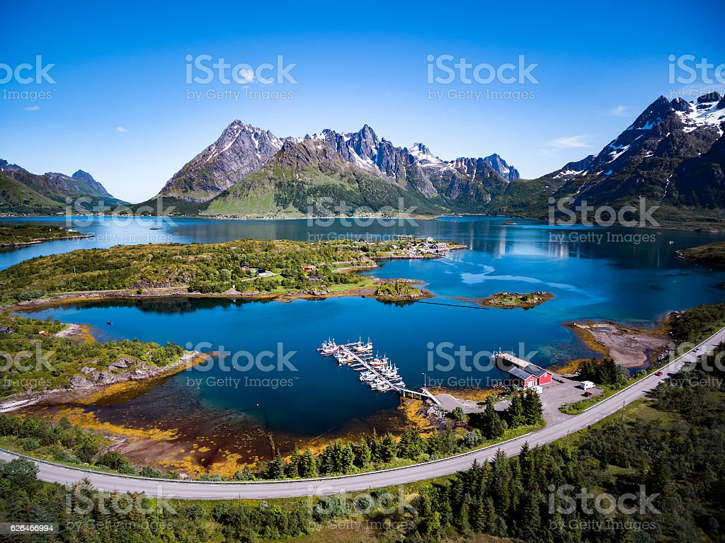 Beautiful Nature Norway aerial photography. stock photo