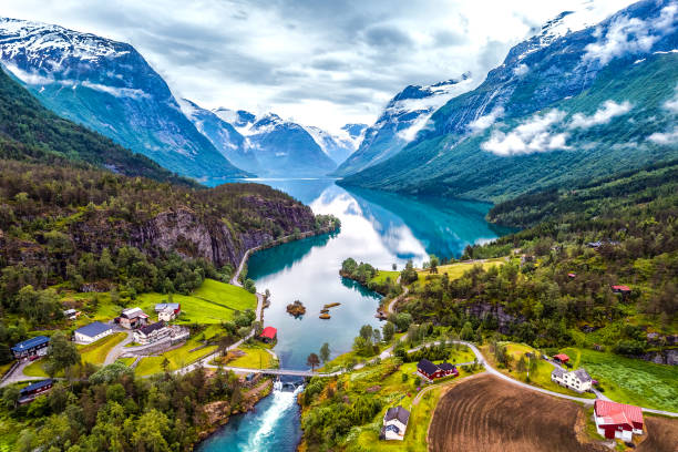 beautiful nature norway aerial photography. - fjord stock photos and pictures