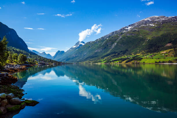 beautiful nature norway. - fjord stock photos and pictures