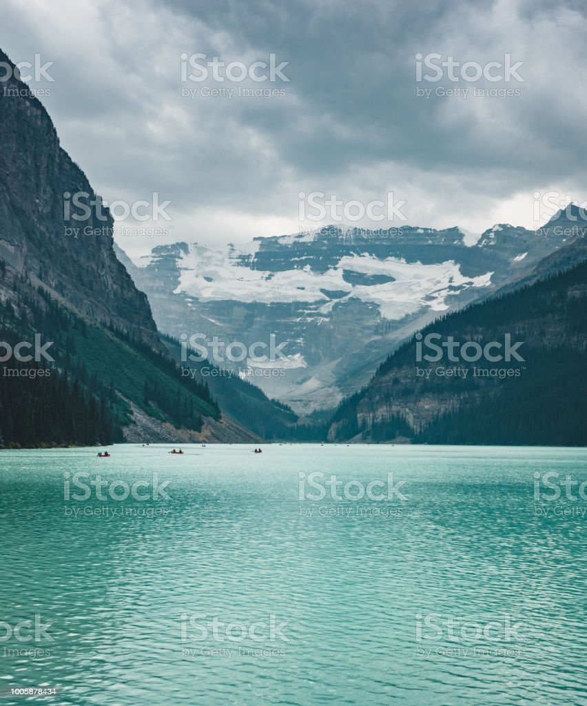 Beautiful Nature of Lake Louise in foreground and mountain in background in Banff National Park, Canada Alberta stock photo