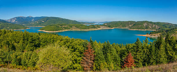 Beautiful nature on Lake  Plastiras stock photo