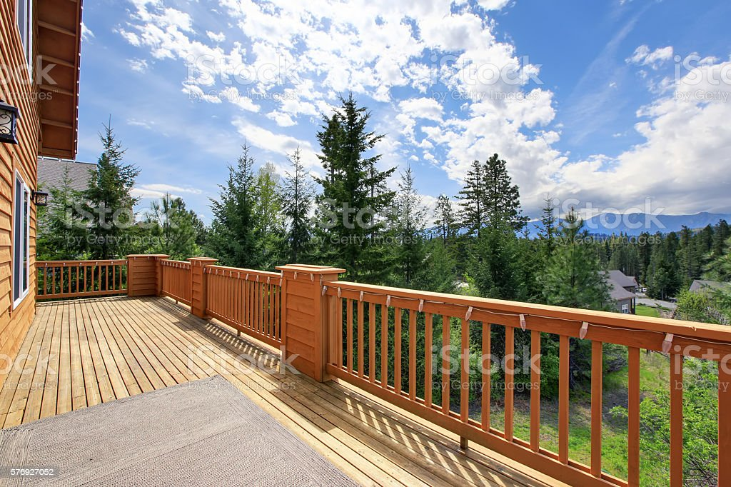 Beautiful nature view from large walkout deck stock photo
