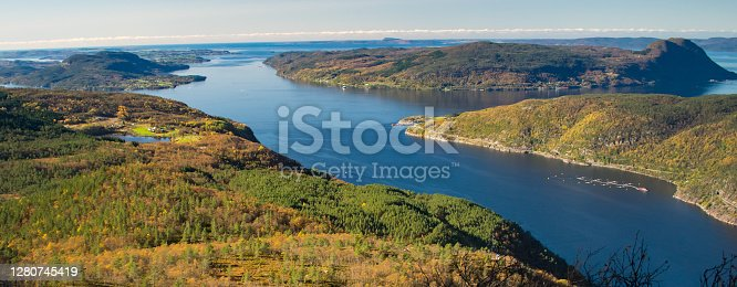 Beautiful nature view with fjord and mountains. Hiking trail vantage point. Location: Scandinavian Mountains, Norway.