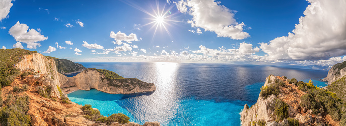 Beautiful Navagio Beach With Shipwreck On Zakynthos Island In Greece Stock Photo - Download Image Now