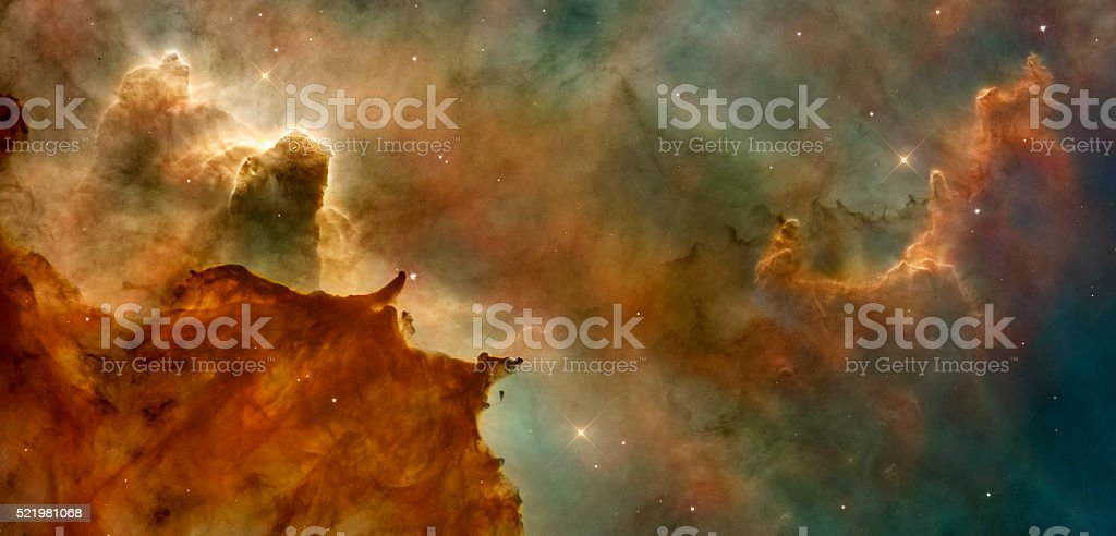 Beautiful nebula in cosmos far away. Retouched image. stock photo