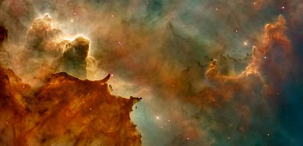 Beautiful nebula in cosmos far away. Retouched image. stock photo
