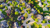 Beautiful neighborhoods, homes, aerial view in Summertime.