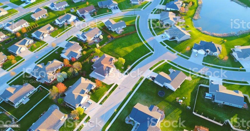 Beautiful neighborhoods, homes, aerial view, Springtime sunrise. royalty-free stock photo