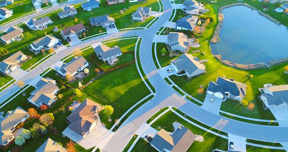 istock Beautiful neighborhoods, homes around pond, aerial view, Springtime dawn. 684155814