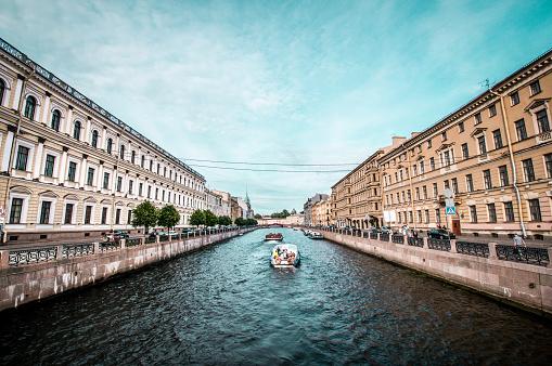 Beautiful Neva River Canal In St. Petersburg, Russia