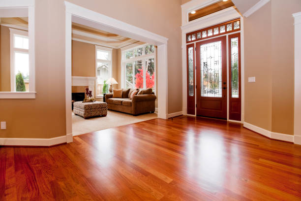Beautiful New custom Entryway upscale home hardwood floors stock photo