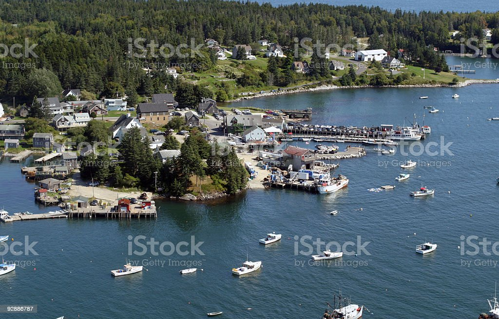 Beautiful New England (US) coastline view from airplane stock photo