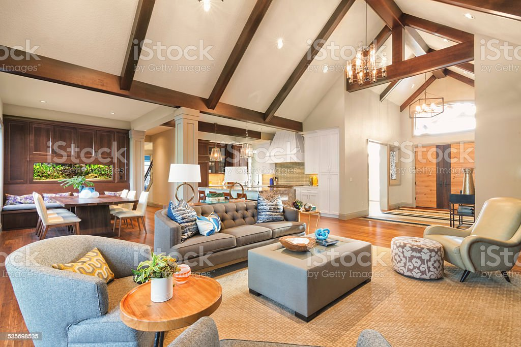 Beautiful New Furnished Living Room in New Luxury Home stock photo
