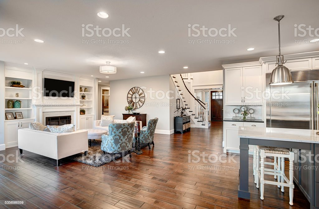 ... Beautiful New Furnished Living Room In New Luxury Home Stock Photo ...