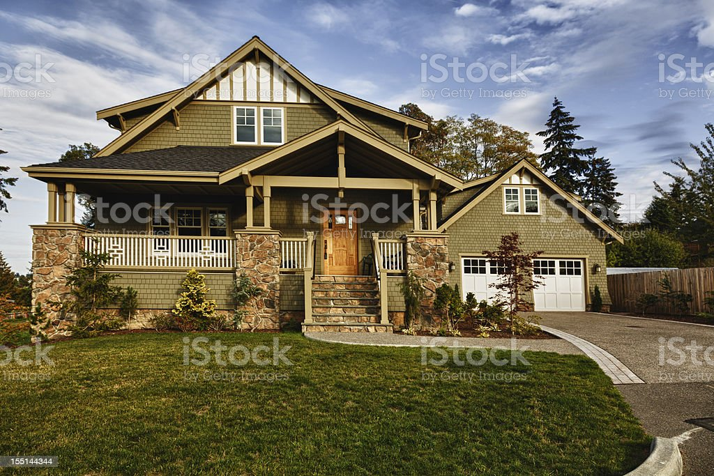 Beautiful new home and the change of seasons stock photo