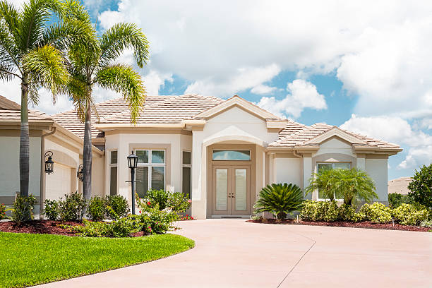 Beautiful New Home in the Tropics stock photo