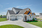 istock Beautiful new home with big front porch and entry 1256023750