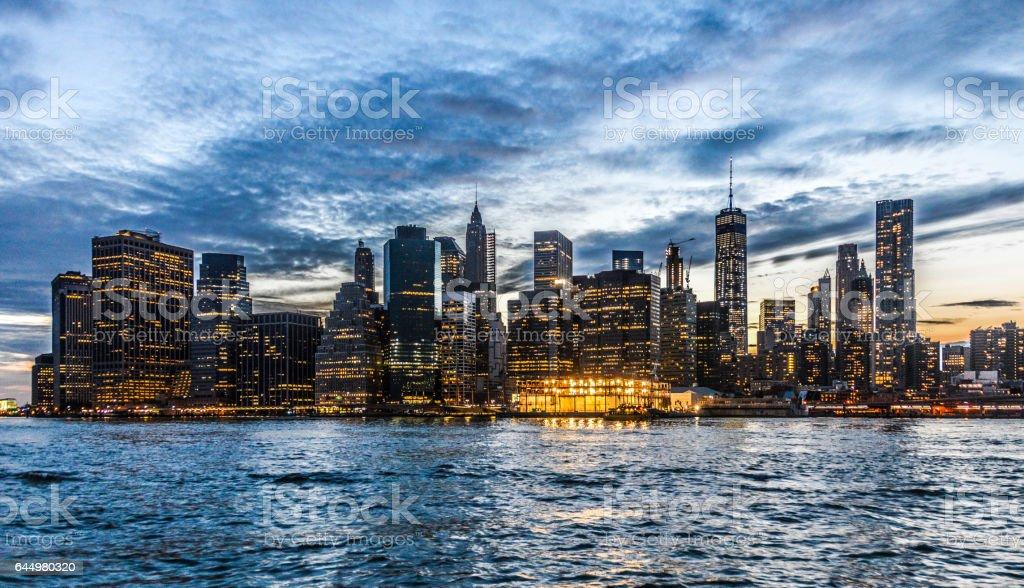 Beautiful New York City skyline at sunset stock photo