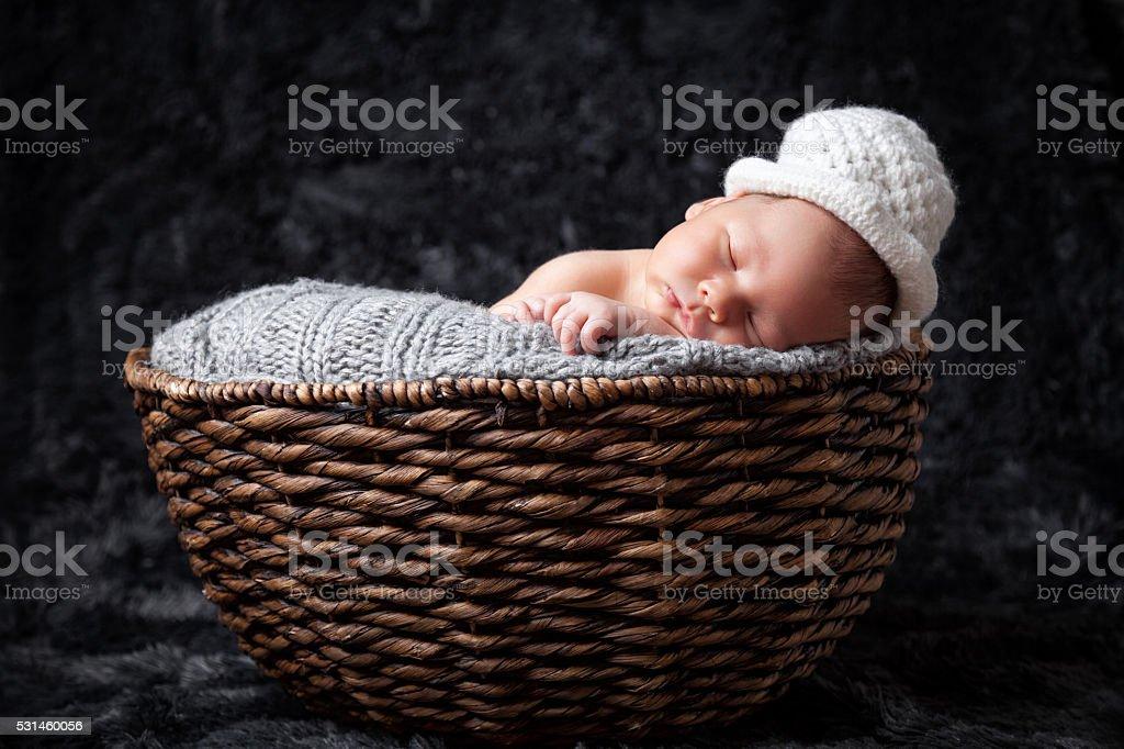 Beautiful newborn inside a basket stock photo