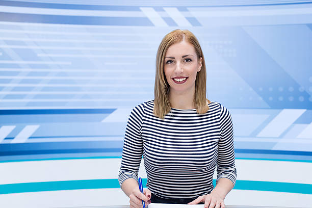 Beautiful newscaster ready for news Beautiful newscaster ready for news anchor stock pictures, royalty-free photos & images