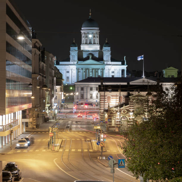 A beautiful night city skyline of downtown with Helsinki Cathedral in the background. stock photo