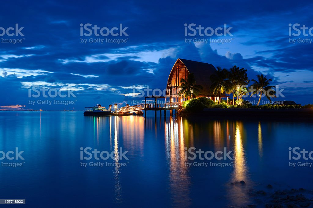 Beautiful Night of Maldives Island stock photo