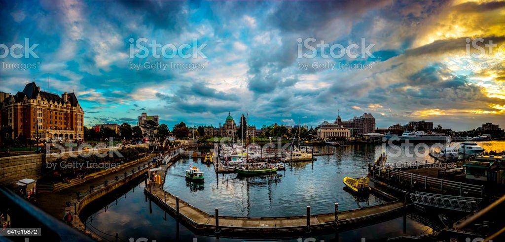 Beautiful night scene inner harbor in Victoria Canada 1. stock photo