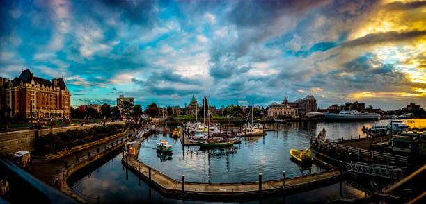 beautiful night scene inner harbor in victoria canada 1. - british columbia stock photos and pictures
