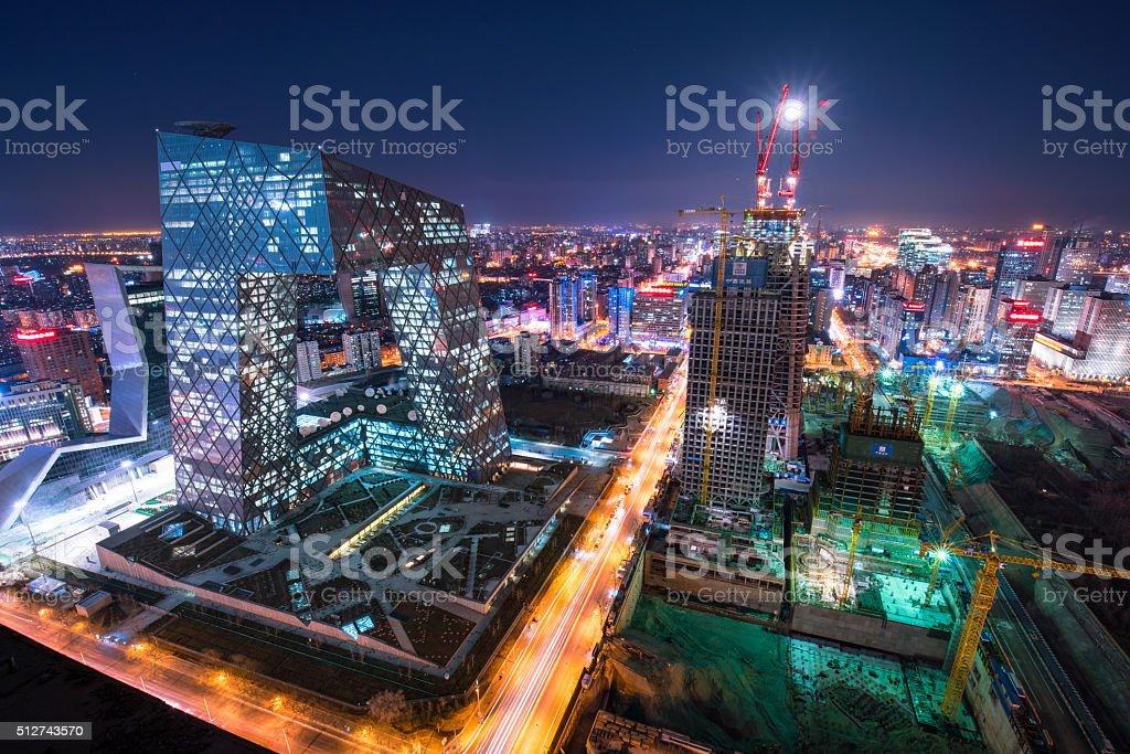 beautiful night scene of beijing skyline stock photo